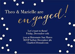 Gold Foil Stamped Engaged Script Engagement Party Invitation