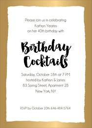 Foil Stamped Brush Border Birthday Party Invitation