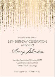Gold Foil Stamped Chandelier Birthday Party Invitation