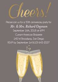 Gold Foil Stamped Cheers Script Anniversary Party Invitation