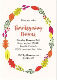 Thanksgiving Wreath Party Invitation