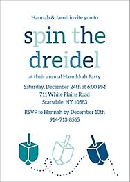 Spin the Dreidel Holiday Party Invitation