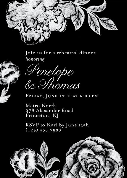 Chalk Bloom Rehearsal Dinner Invitation