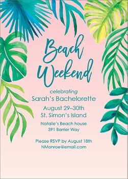 Beach Weekend Bachelorette Party Invitation