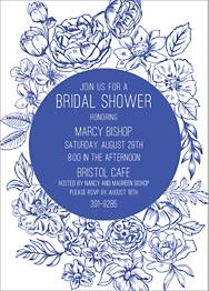 Blue Floral Frame Bridal Shower Invitation