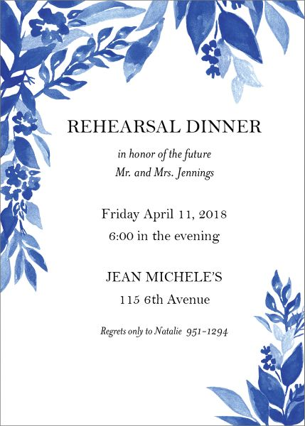 Indigo Trellis Rehearsal Dinner Invitation