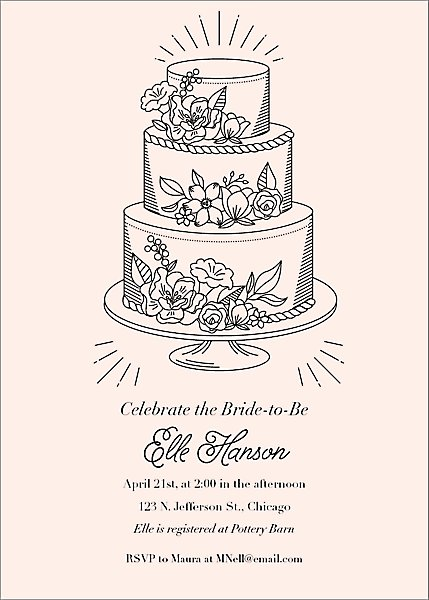 Tiered Cake Bridal Shower Invitation