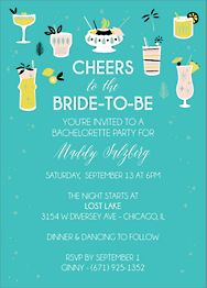 Modern Cocktails Bachelorette Party Invitation