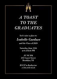 Foil Champagne Border Graduation Invitation