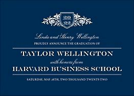 Horizontal Vintage Crest Graduation Invitation