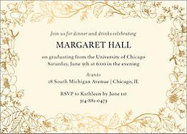Foil Horizontal Blossom Border Graduation Invitation