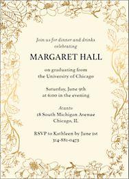 Foil Vertical Blossom Border Graduation Invitation