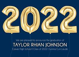 Horizontal Year Balloons Graduation Invitation
