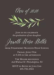 Green Garland Graduation Invitation