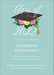 Floral Cap Graduation Invitation