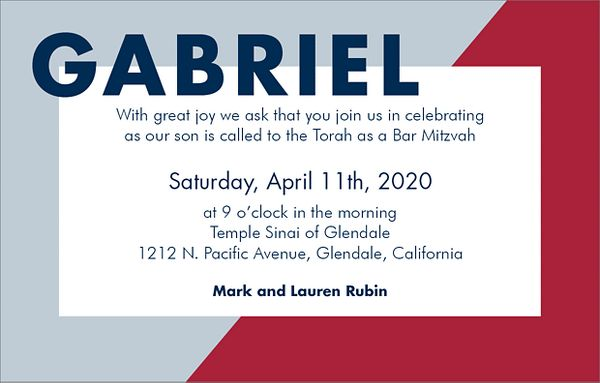 Colorblock Bar Mitzvah Invitation