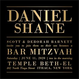 All Foil Bold Type Bar Mitzvah Invitation