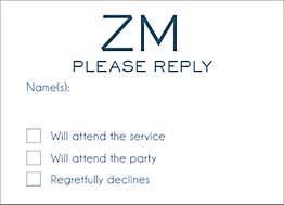 Initials Bar Mitzvah Response Card