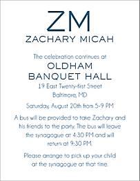 Initials Bar Mitzvah Information Card