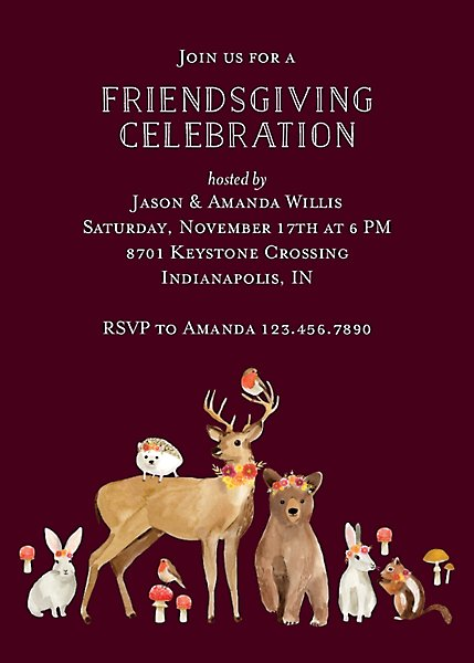 Woodland Friends Party Invitation