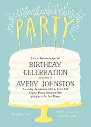 Cake Sparklers Birthday Party Invitation