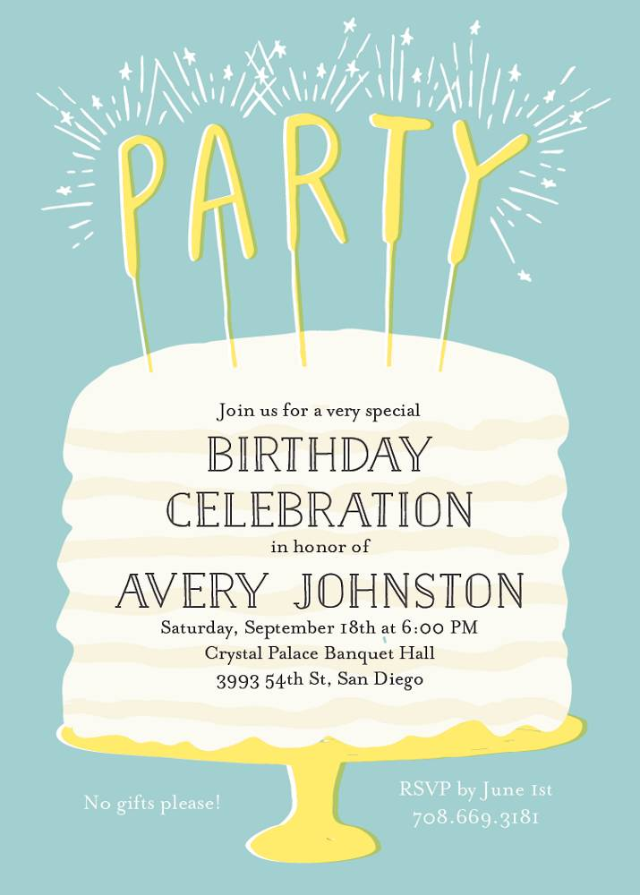 Awe Inspiring Cake Sparklers Birthday Party Invitation Paper Source Funny Birthday Cards Online Inifodamsfinfo
