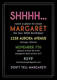 Shhhhh Birthday Party Invitation