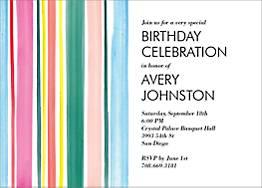 Watercolor Stripes Birthday Party Invitation