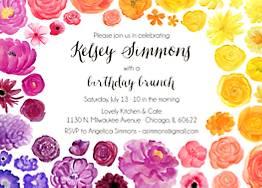 Rainbow Floral Birthday Party Invitation