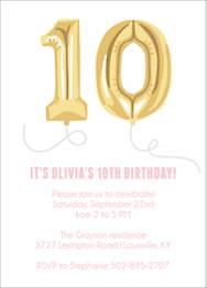 Ten Balloons Birthday Party Invitation
