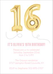 Sixteen Balloons Birthday Party Invitation