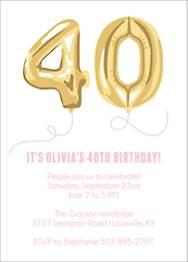 Forty Balloons Birthday Party Invitation