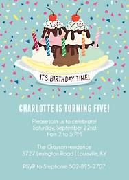Sundae Birthday Party Invitation