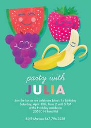 Fruit Friends Birthday Party Invitation