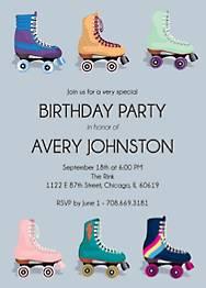 Rollerskates Birthday Party Invitation