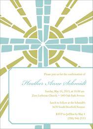 Stain Glass Cross Confirmation Invitation