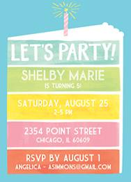 Rainbow Cake Birthday Party Invitation