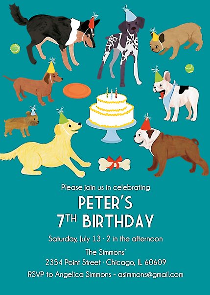 Dog Party Birthday Invitation
