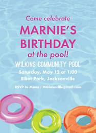 Pool Floats Birthday Party Invitation