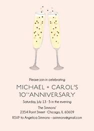 Champagne Toast Anniversary Party Invitation