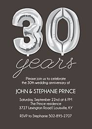 Thirty Years Balloons Anniversary Party Invitation
