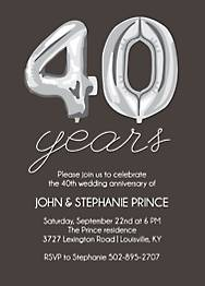 Forty Years Balloons Anniversary Party Invitation