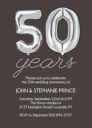 Fifty Years Balloons Anniversary Party Invitation