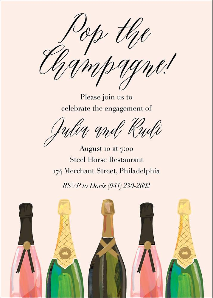 Pop The Champagne Engagement Party Invitation Paper Source