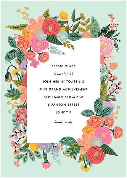 Garden Party Tall Invitation Paper