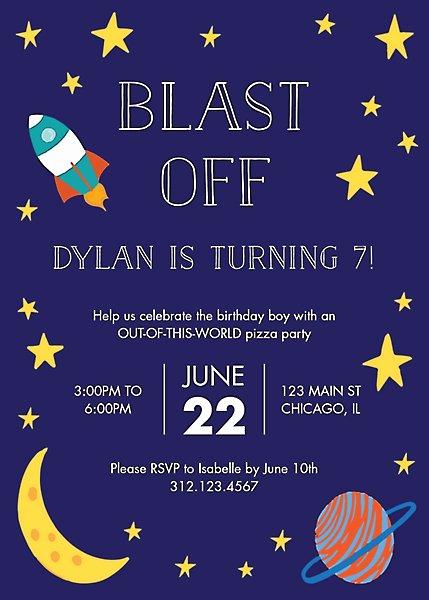 Blast Off Birthday Party Invitation