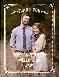 Chalkboard Border Photo Thank You Notes