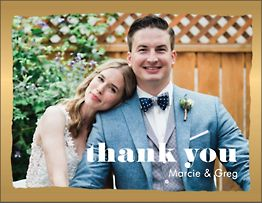 Foil Stamped Brush Border Photo Thank You Notes