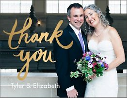 Foil Stamped Brush Photo Thank You Notes