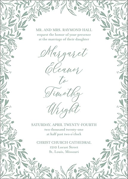 Letterpress Garden Wedding Invitation
